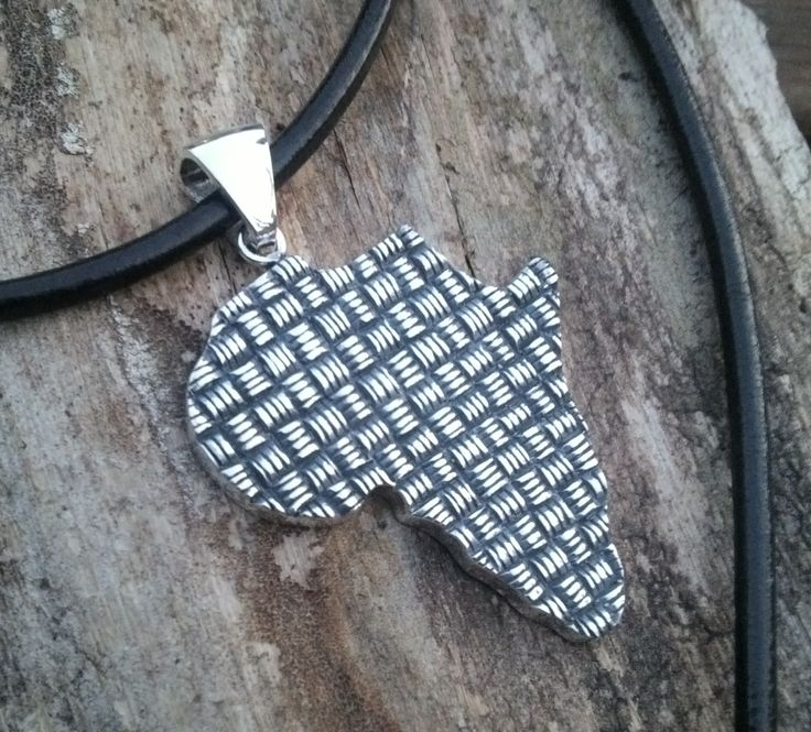 Sterling silver African weave map pendant - this piece depicts the weave designs that the African women are so well known for!