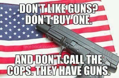 And don't hire armed guards or vote for anyone who has them. (^▽^)