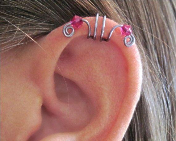 """No Piercing """"Crystal Double Up"""" Ear Cuff for Upper Ear 1 Cuff Gunmetal ... Labyrinth Ear Band"""