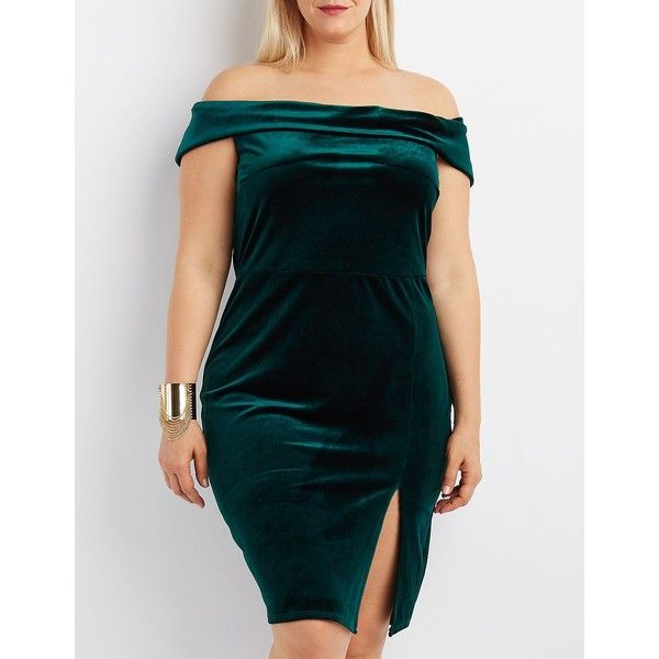 Charlotte Russe Velvet Off-The-Shoulder Bodycon Dress ($20) ❤ liked on Polyvore featuring plus size women's fashion, plus size clothing, plus size dresses, emerald, plus size blue dress, plus size off the shoulder dress, sexy blue dresses, bodycon dress and plus size bodycon dresses
