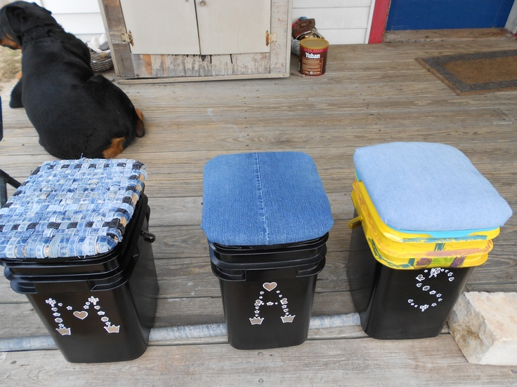 I recycled cat litter buckets into portable tote/seats. After painting them, we cut and shaped old plywood to fit into each lid and over its edge. Then I padded the wood tops and covered them with recycled denim and chambray. The seat top at left is woven from jean seams. Tip: use Fusion(TM) spray paint from Krylon(R); regular spray paint will scratch or wear off. I made the letters out of sparkly stickers.