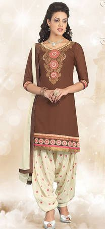 Buy Fashion Now Brown Embroidered Patiala Salwar Suit Online online at best prices. Get discount on Patiala Salwar Suit, Salwar Kameez with home delivery from Fashionnow.