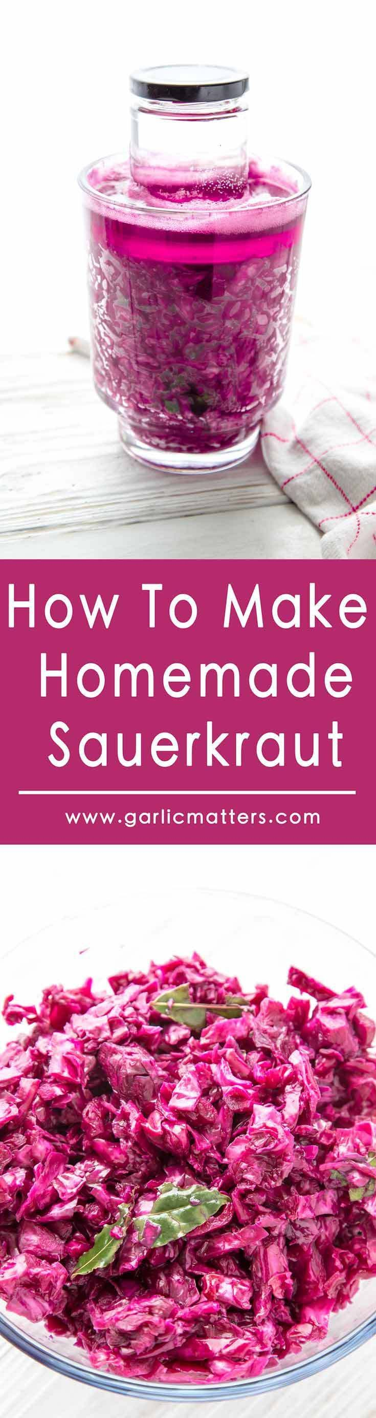Learn How To Make Homemade Sauerkraut and enjoy its amazing flavour as well as health benefits. All you need is cabbage and salt! Easy recipe and no special skills or equipment required. The fermented sauerkraut stores great for months!
