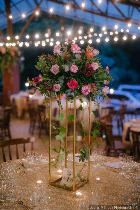 Gold Wedding Centerpiece With Pink And Greenery Fl Arrangement Javier Méndez Photography