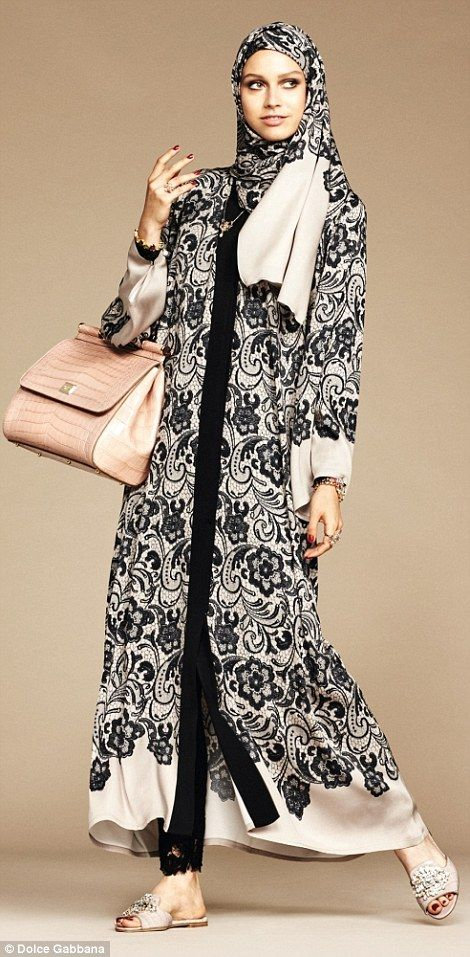 The abayas and hijabs come in sheer georgette and satin weave charmeuse fabrics, and D&G signature lace detailing is also a strong presence