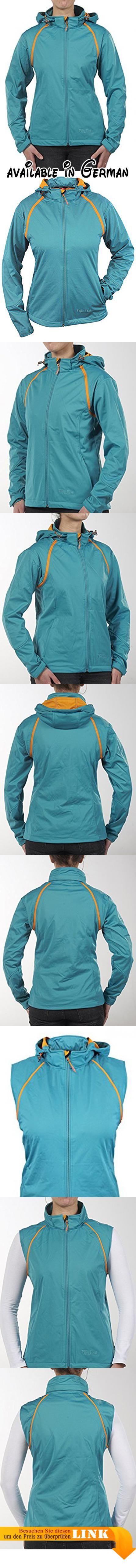 B01N5TH6Z8 : Super leichte Damen Softshell-Jacke mit abtrennbaren Ärmeln von Fifty Five - Menta biscaya/orange 38 - wasserfeste Jacke und Weste in einem. Die FIVE-TEX Membrane sorgt für Atmungsaktivität 5.000 g/m/24h und Wasserfestigkeit 8.000mm und Winddichtigkeit. Perfekt als superleichte Regenjacke für Frühling Sommer und Herbst. Softshelljacke Damen als 2in1 Jacke oder eben als Softshellweste. Die abtrennbaren Ärmel geben das Mehr an Funktion z.B. Softshellweste