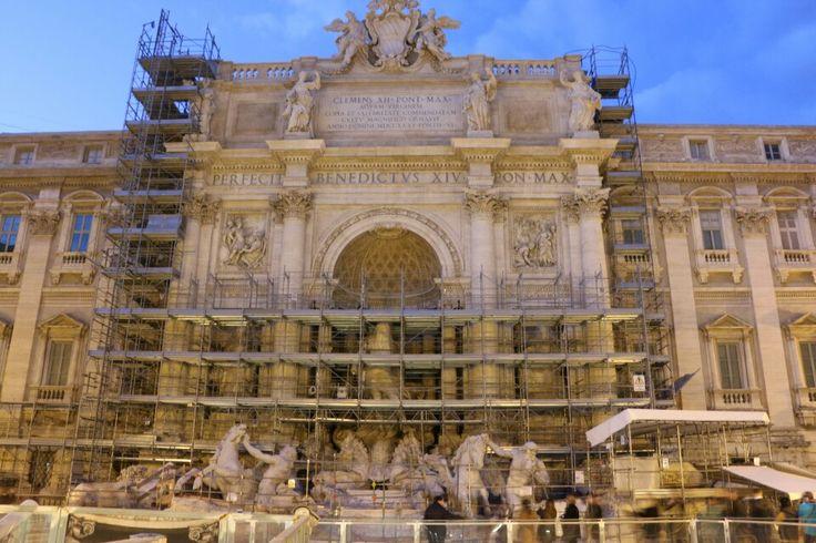 Trevi fountain under construction