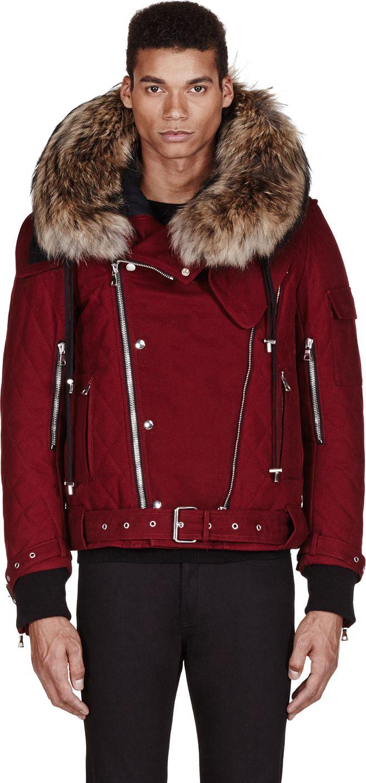 Balmain Red Fur-Trimmed Quilted Biker Jacket