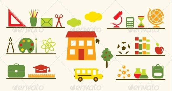 Multicolored School Objects Set ...  academic cap, academy, apple, atom, autumn, backpack, ball, bell, book, bottle, briefcase, building, bus, calculator, chemistry, children, cloud, collection, compass, dividers, door, education, entry, envelope, fall, fruit, globe, gym, instrument, library