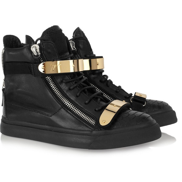Giuseppe Zanotti Embellished leather high-top sneakers ($350) ❤ liked on Polyvore