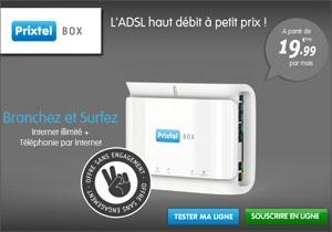PrixTel Box - ADSL illimité + Téléphonie à partir de 19.99€ par mois sans engagement