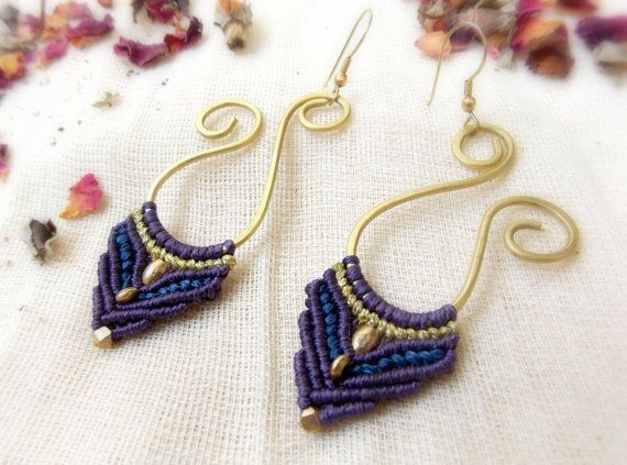 Spiral Never Ending, Brass And Macrame Earrings, Blue And Purple