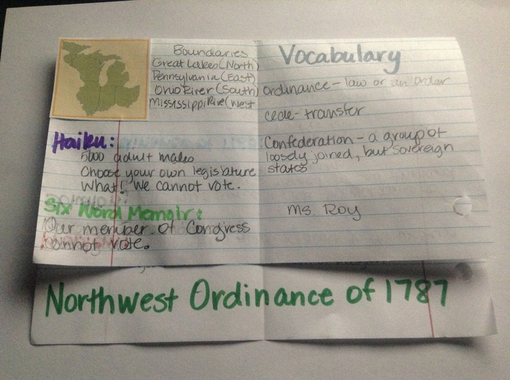 U.S. History - Northwest Ordinance of 1787 (Students take notes on the inside).