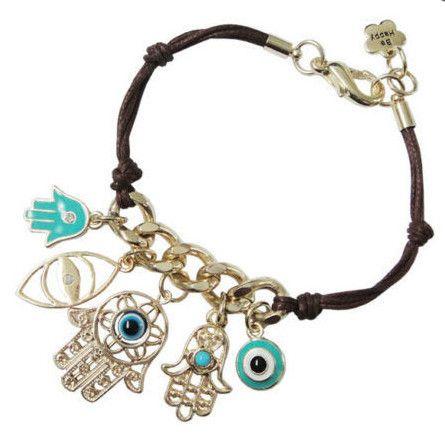 Trendy Leather Gold Hamsa Fatima Hand Evil Eye Turquoise Bracelet