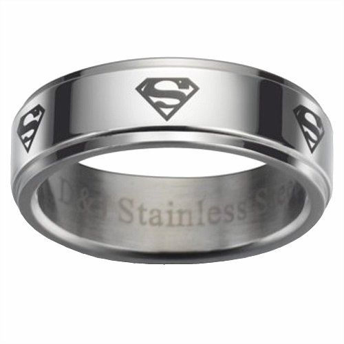 ARS Jewelry Superman Laster Symbol Mens Stainless Steel Ring Size 11