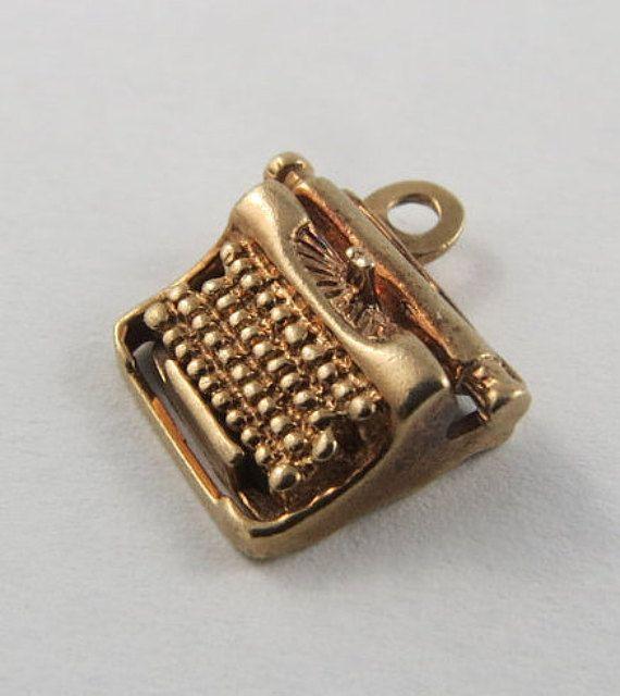Typewriter 10 Karat Gold Charm For Bracelet by SilverHillz on Etsy