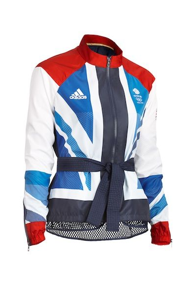 This is a piece from Stella McCartney's 2012 British Olympic uniform. I LOVE how it would make anyone who is wearing it look like they have a black belt in karate! I also think that it would make even an obese person look thin with the diagonal colour blocking!