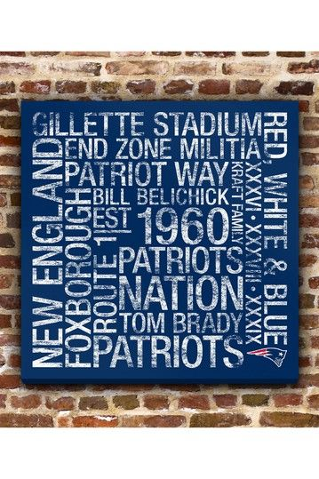 "New England Patriots Square Subway Art - 24"" x 24"" by Fan Favorite Football Art on @HauteLook"