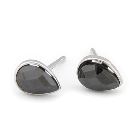 Simple manly black tear drop stud earrings. http://justmystyleshop.com/ #gothic #scene #emo