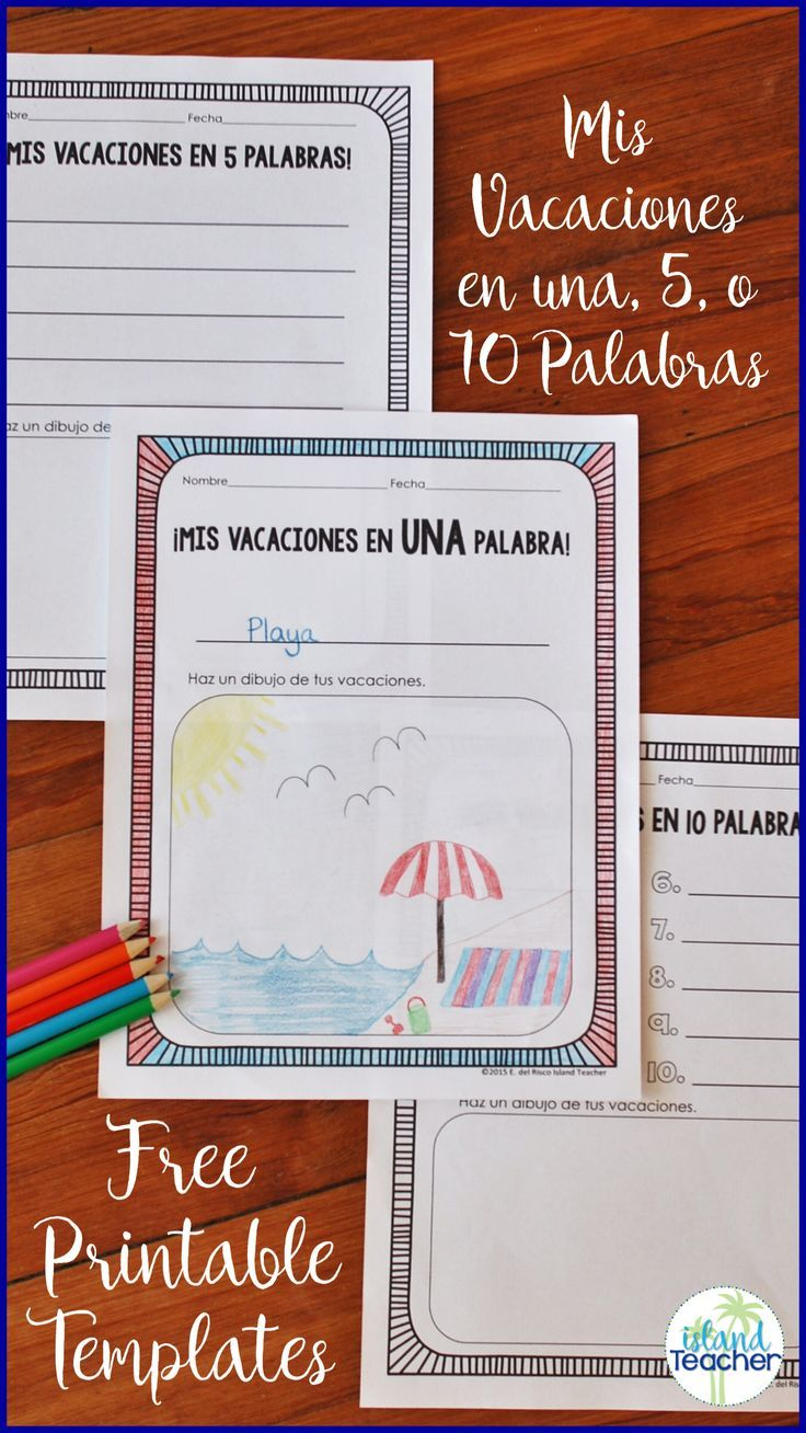 Printable templates for Spanish students to talk about their summer or winter break in 1, 5, or 10 words.