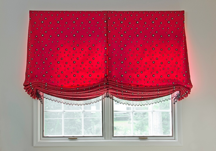 Custom relaxed roman shade with center pleat, tails and ...