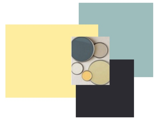 blue yellow and gray color pallet for bedroom