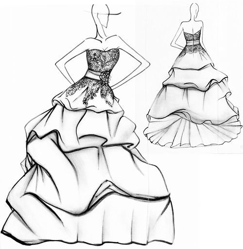 Wedding Dress Designs, Drawing, sketches