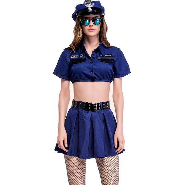 Blue Two Piece Policewoman Sexy Uniform Cop Costume (40 AUD) ❤ liked on Polyvore featuring costumes, blue, blue costumes, sexy cop halloween costume, police woman halloween costume, sexy police officer costume and police officer costume