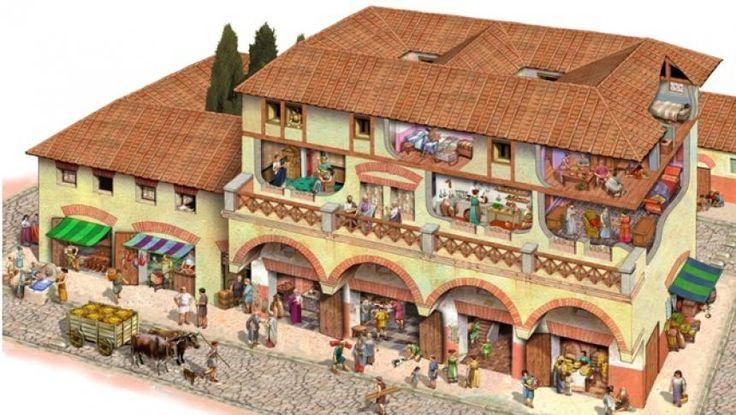 """Dacă orientalii îşi construiau colibe din lut şi piatră, iar celţii îşi construiau locuinţe din lemn, stuf sau nuiele, grecii şi romanii au inventat conceptul de locuinţă """"modernă"""" construită din materiale variate. Orice locuinţă ideală trebuia să asigure adăpost şi confort şi să aibă diferite camere dedicate pentru activităţi specifice. Ca şi în societatea modernă de azi, locuinţele romanilor erau construite în funcţie de ierarhie."""