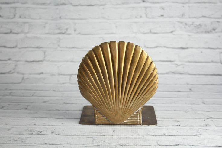 Vintage Brass Scallop Shell Bookend Authentic Mid-Century Weighted With Patina Book 1960s Tropical Beach Tiki Coastal Theme Bookshelf Decor by BrooklynBornFinds on Etsy