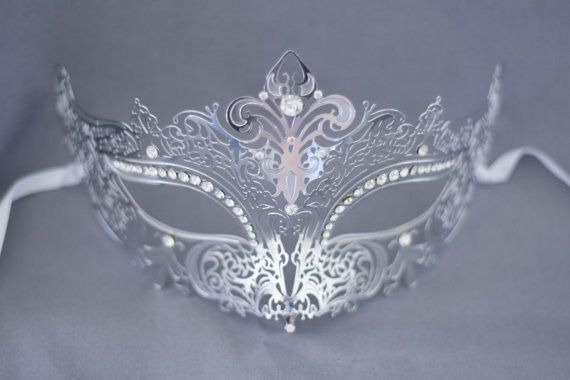 Silver / Grey laser cut metal masquerade mask perfect for