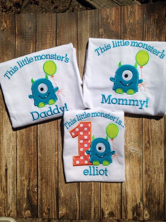 Little monsters boys first birthday mommy by LittleChickiesClips