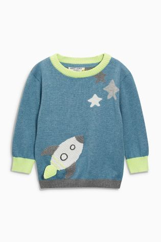 Buy Blue Crochet Rocket Crew Neck Jumper (3mths-6yrs) online today at Next: Hungary