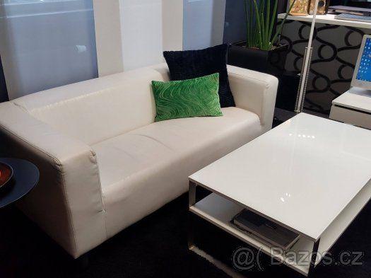 Bílé koženkové pohovky KLIPPAN (Ikea) - 1