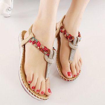 Sandales Plates De Plage À Enfiler Avec Perles Florales Bohémiennes Chaussures Élastiques Entredoigt