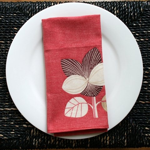 Contemporary botanical pink cotton napkins by Be Still Homewares