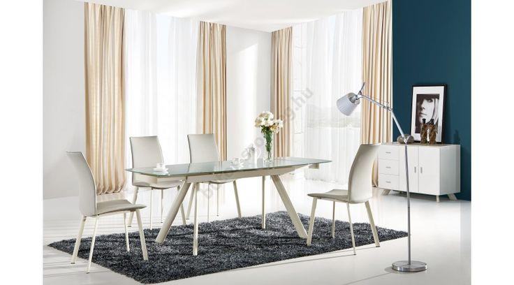 MAXIMUS - egy modern étkezőasztal, edzett üveg asztallappal, porszórt acél vázzal. Az étkezőasztal bővíthető, mérete: 140÷200/90/75 cm. Az asztal a fotón K192 székekkel látható, melyek nem tartoznak az asztalhoz, de webshopunkban külön