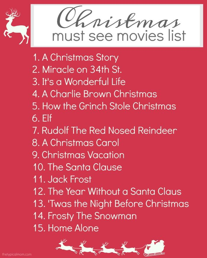 Here's a free printable Christmas movies list to make sure you catch all the classics, and new Christmas movies your whole family will love!! via @thetypicalmom
