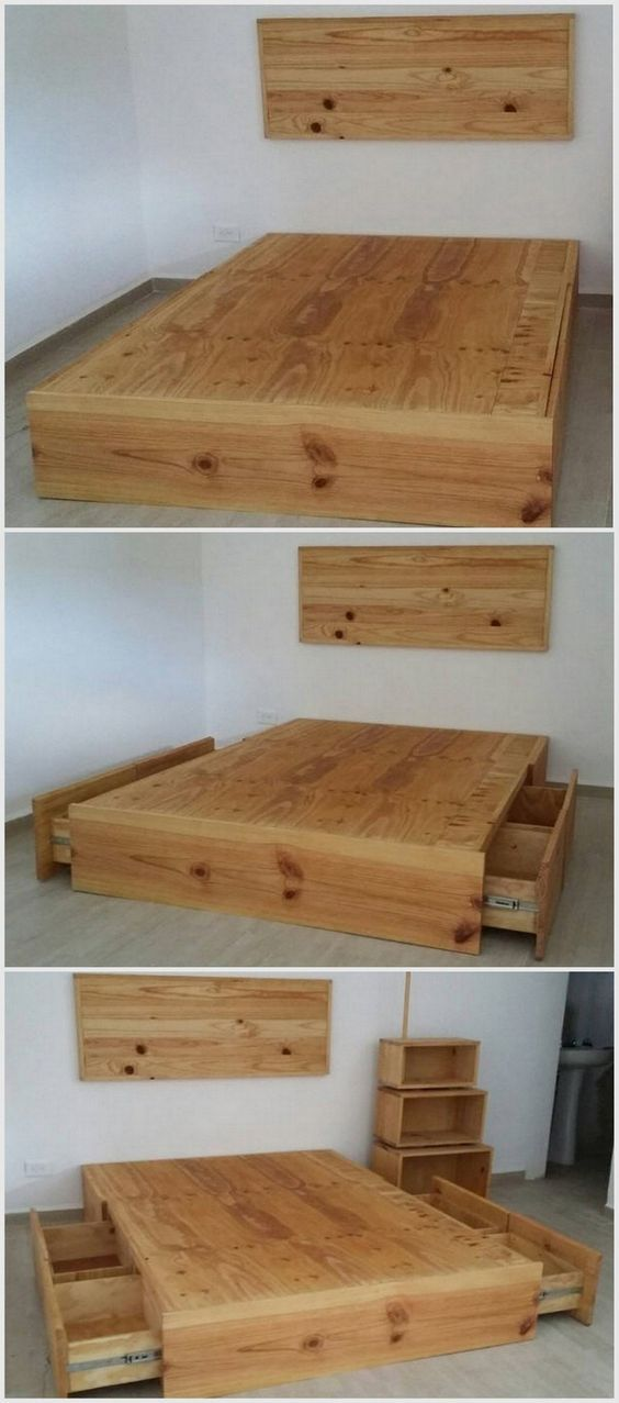 Recycling ideas with old shipping pallets pallets for Pallet platform bed with storage
