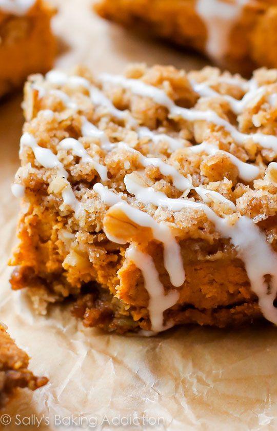 Pumpkin Streusel Bars on sallysbakingaddiction.com-- so much easier than pumpkin pie!