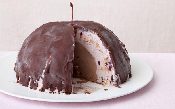 Chocolate Cherry Bombe: Gourmet.comCake Recipe, Chocolates Sauces, Cherries Ice, Chocolates Factories, Cherries Bombs,  Chocolates Syrup, Chocolates Sauce'S, Bombs Recipe, Chocolates Cherries
