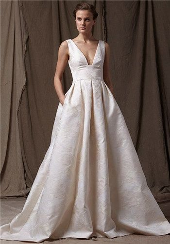 Lela Rose Wedding Collection The Mountain Brocade Deep V Neck Gown With Full Skirt Dress Pinterest Dresses And