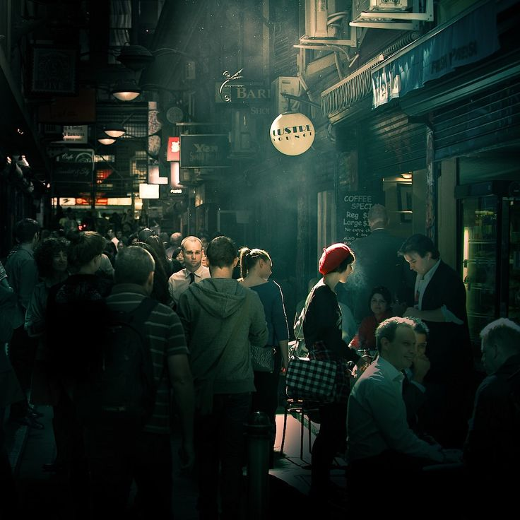 Centre Place or Degraves Street, Melbourne, Australia.  LOVING this photo. Perfect processing and tone and the tiny bit of red brings it all together.