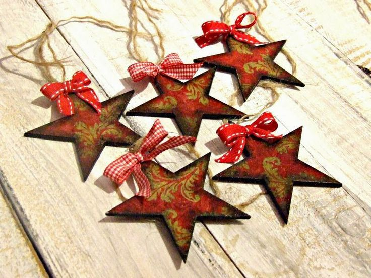 #decoupage #christmas  ozdoby choinkowe hand made decouapage gwiazdki vintage