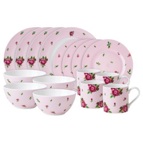 Vibrant and vivacious, new country roses is a beautiful new addition to the vintage patterns that have made royal albert famous the world over. Youthful and exuberant, this pink casual 16-piece set includes 4 dinner plates, 4 salad plates, 4 all purpose bowls and 4 mugs; rendered in vibrant colors and durable enough to use everyday.