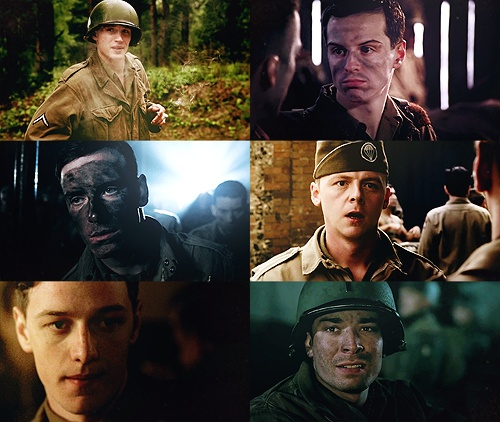 Random Awesome People in Band of Brothers. (l-r) Tom Hardy as Pfc. John Janovec / Andrew Scott as Pvt. John 'Cowboy' Hall / Michael Fassbender as Sgt. Burton 'Pat' Christenson / Simon Pegg as 1st Sgt. William Evans / James McAvoy as Pvt. James W. Miller / Jimmy Fallon as 2nd Lt. George C. Rice