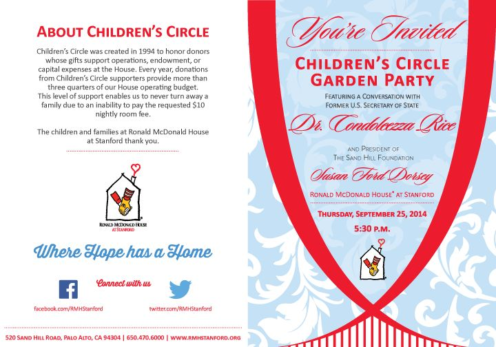 Children's Circle 2014 Invitation for client Ronald McDonald House at Stanford. Redesign for premium donor event. Solo project, layered Illustrator files.