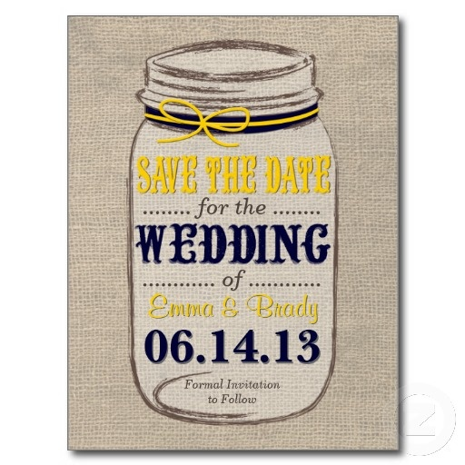 Rustic Mason Jar Save the Date Yellow Navy Post Card