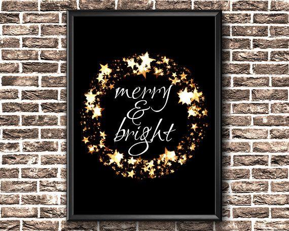 Christmas Printable Decor  Merry And Bright Printable