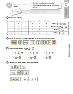 CM1: EXERCICES Les fractions décimales